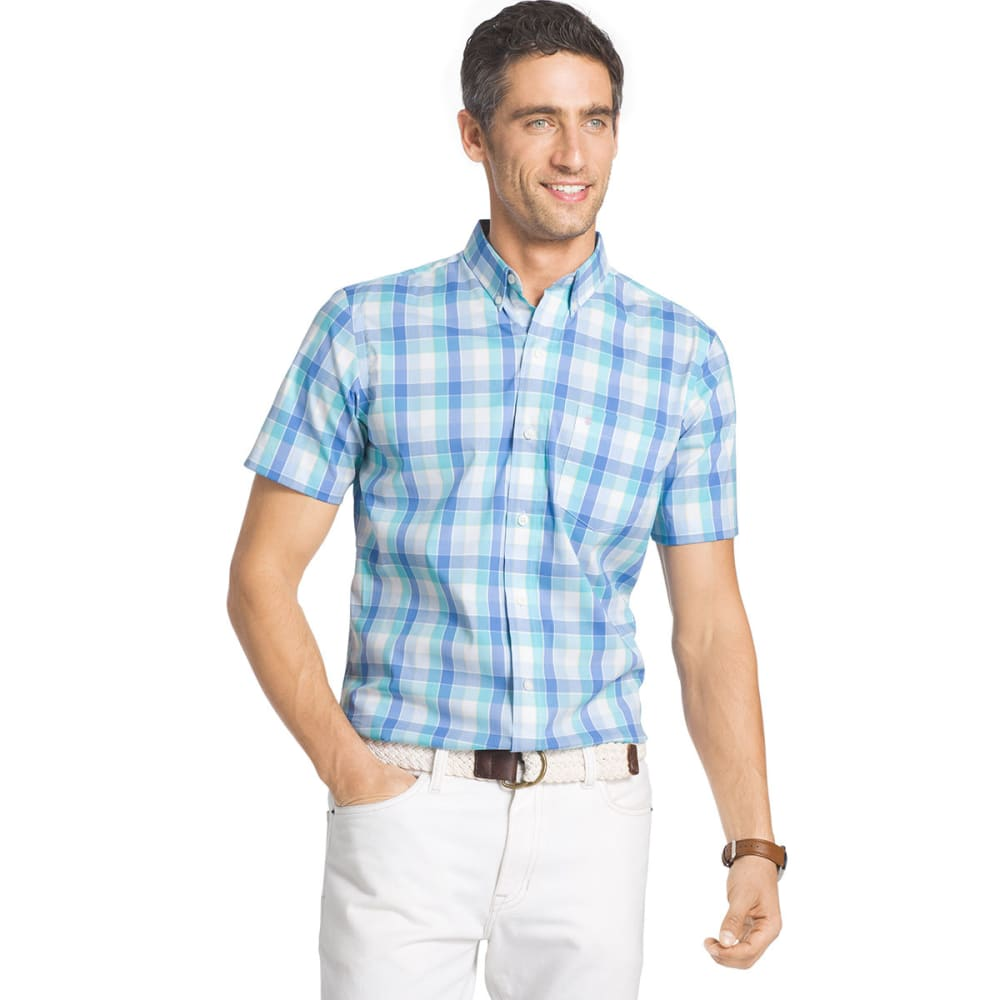 IZOD Men's Advantage Stretch Plaid Short-Sleeve Shirt - BLUE RADIANCE - 477
