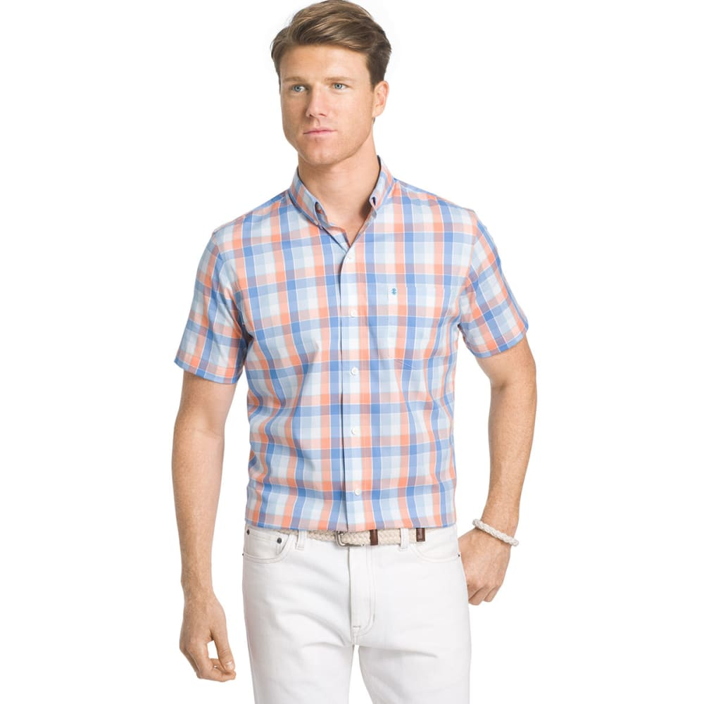 Izod Men's Advantage Stretch Plaid Short-Sleeve Shirt - Orange, M