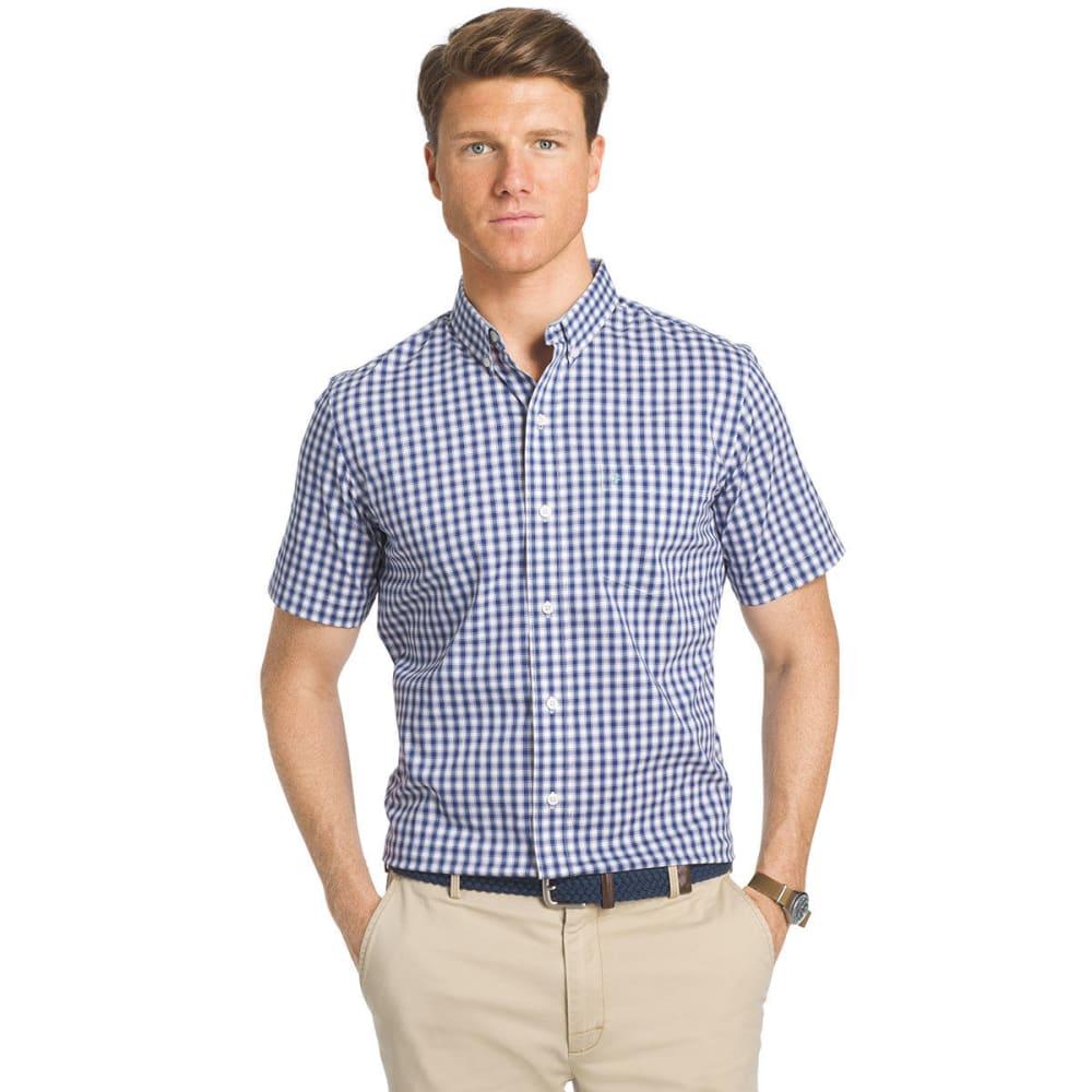 IZOD Men's Advantage Small Box Plaid Short-Sleeve Shirt - TWILIGHT BLUE - 409