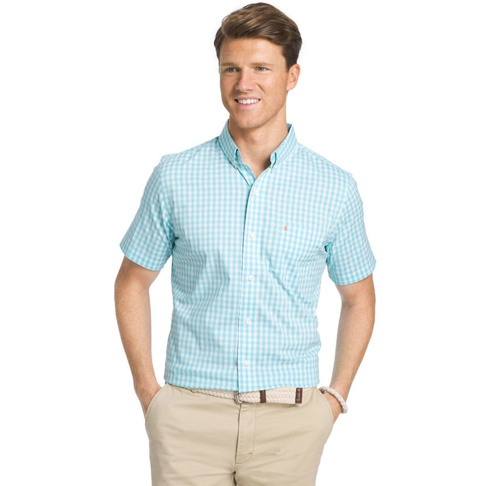 IZOD Men's Advantage Small Box Plaid Short-Sleeve Shirt - BLUE RADIANCE - 477