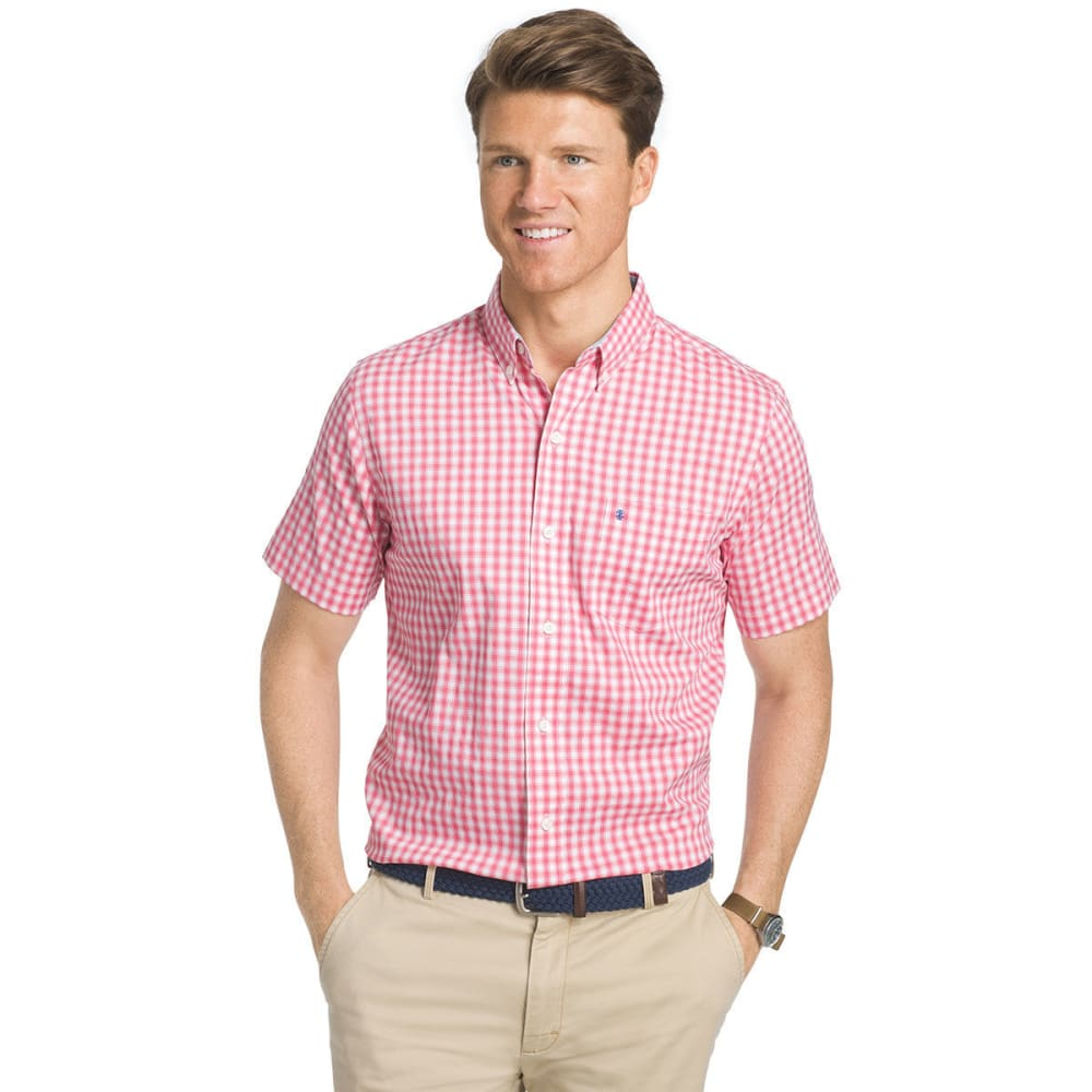IZOD Men's Advantage Small Box Plaid Short-Sleeve Shirt - RAPTURE ROSE-697