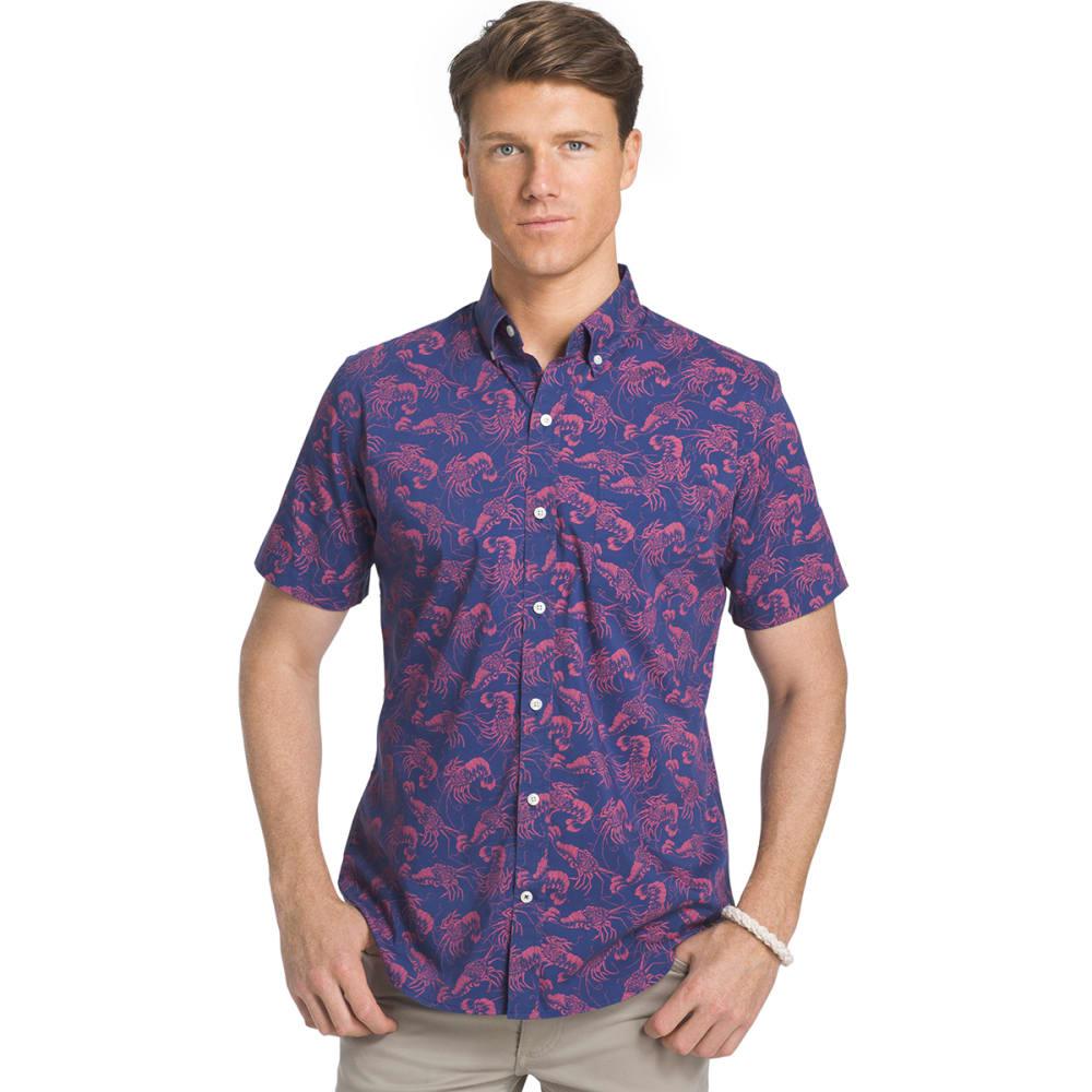 IZOD Men's Advantage Palm Lobster Short-Sleeve Shirt - TWILIGHT BLUE - 409
