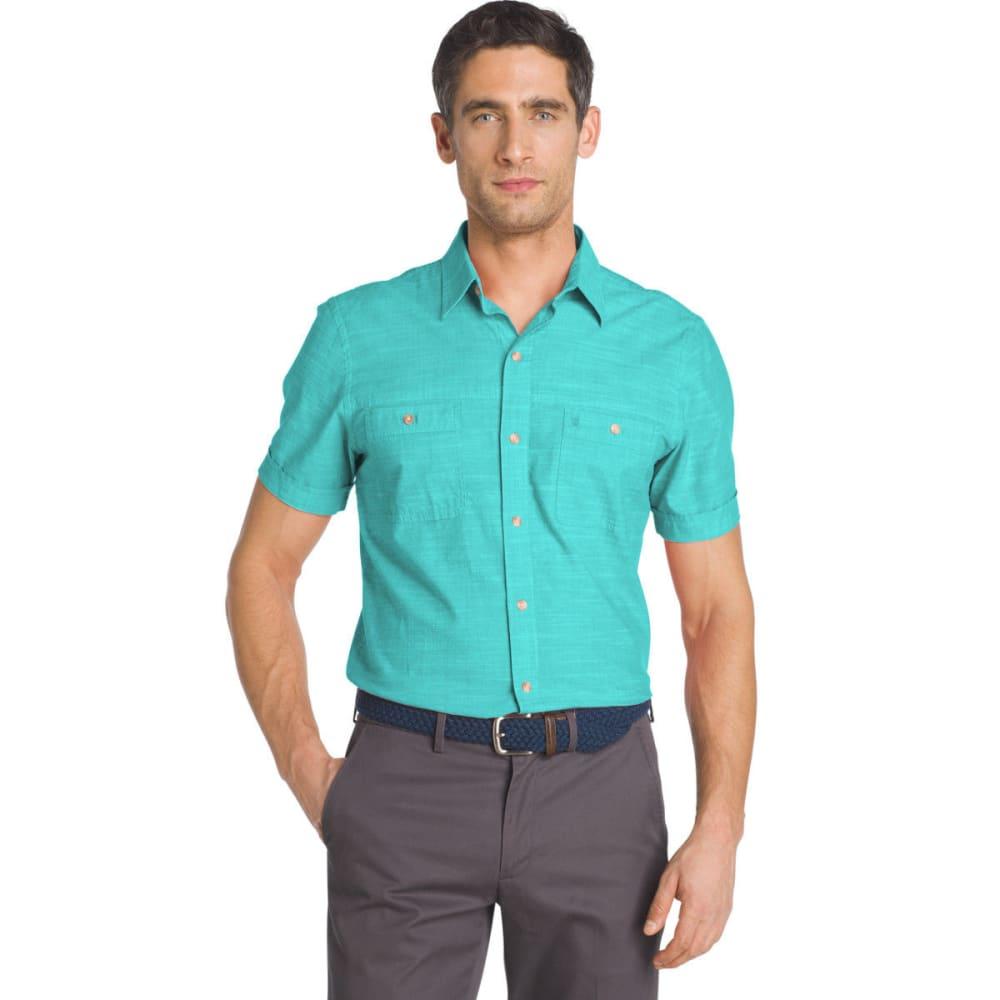 IZOD Men's Saltwater Dockside Chambray Solid Short-Sleeve Shirt - BLUE RADIANCE - 477