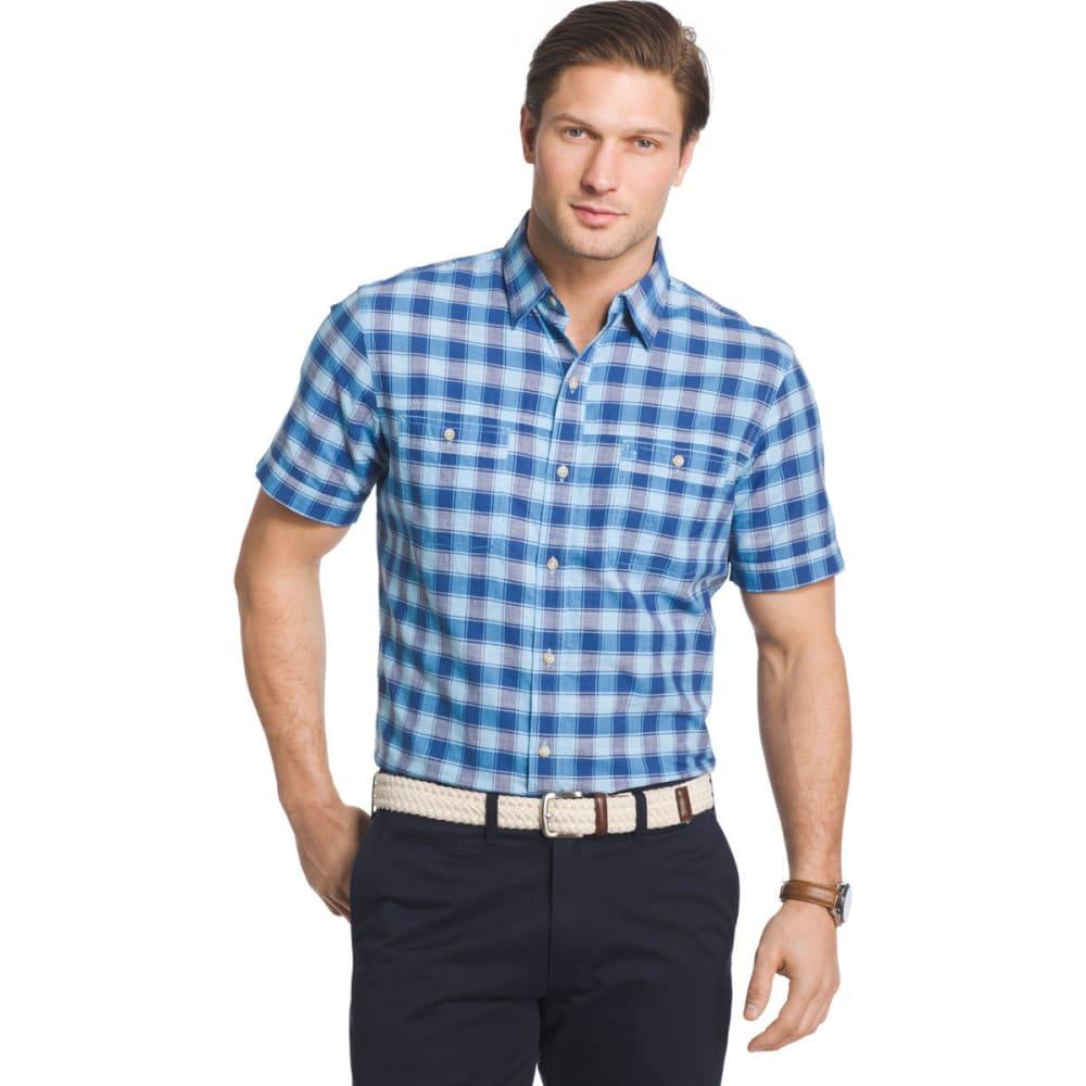 IZOD Men's Saltwater Dockside Chambray Color Grid Short-Sleeve Shirt M