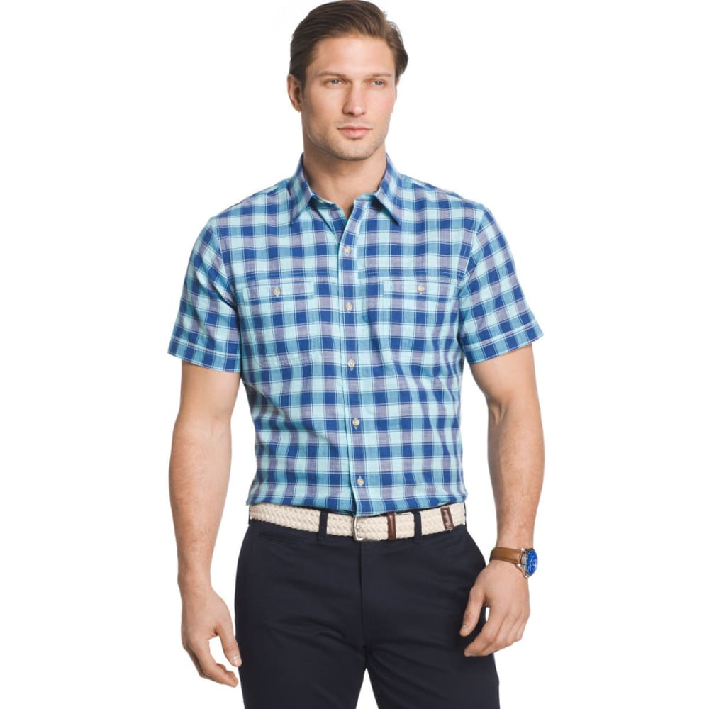IZOD Men's Saltwater Dockside Chambray Color Grid Short-Sleeve Shirt - ETHEREAL BLUE - 402