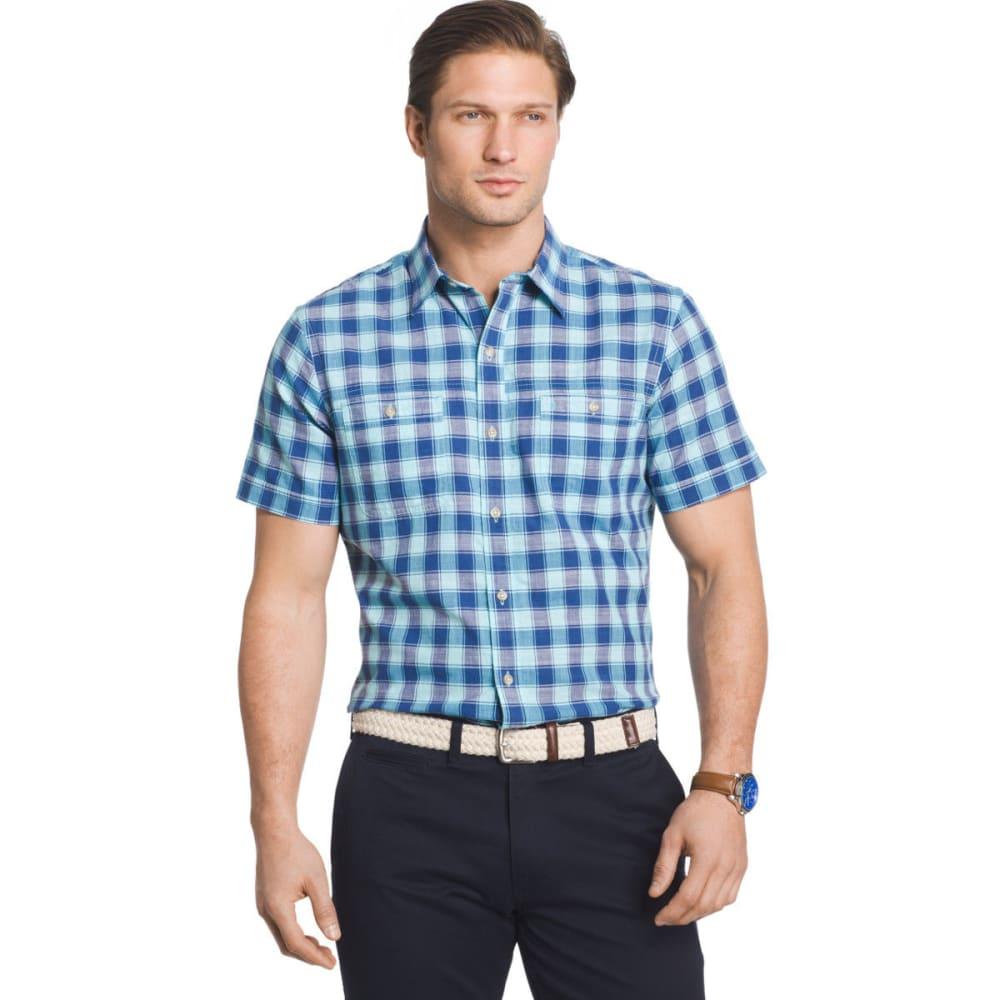 IZOD Men's Saltwater Dockside Chambray Color Grid Short-Sleeve Shirt - ETHEREAL BLUE - 402