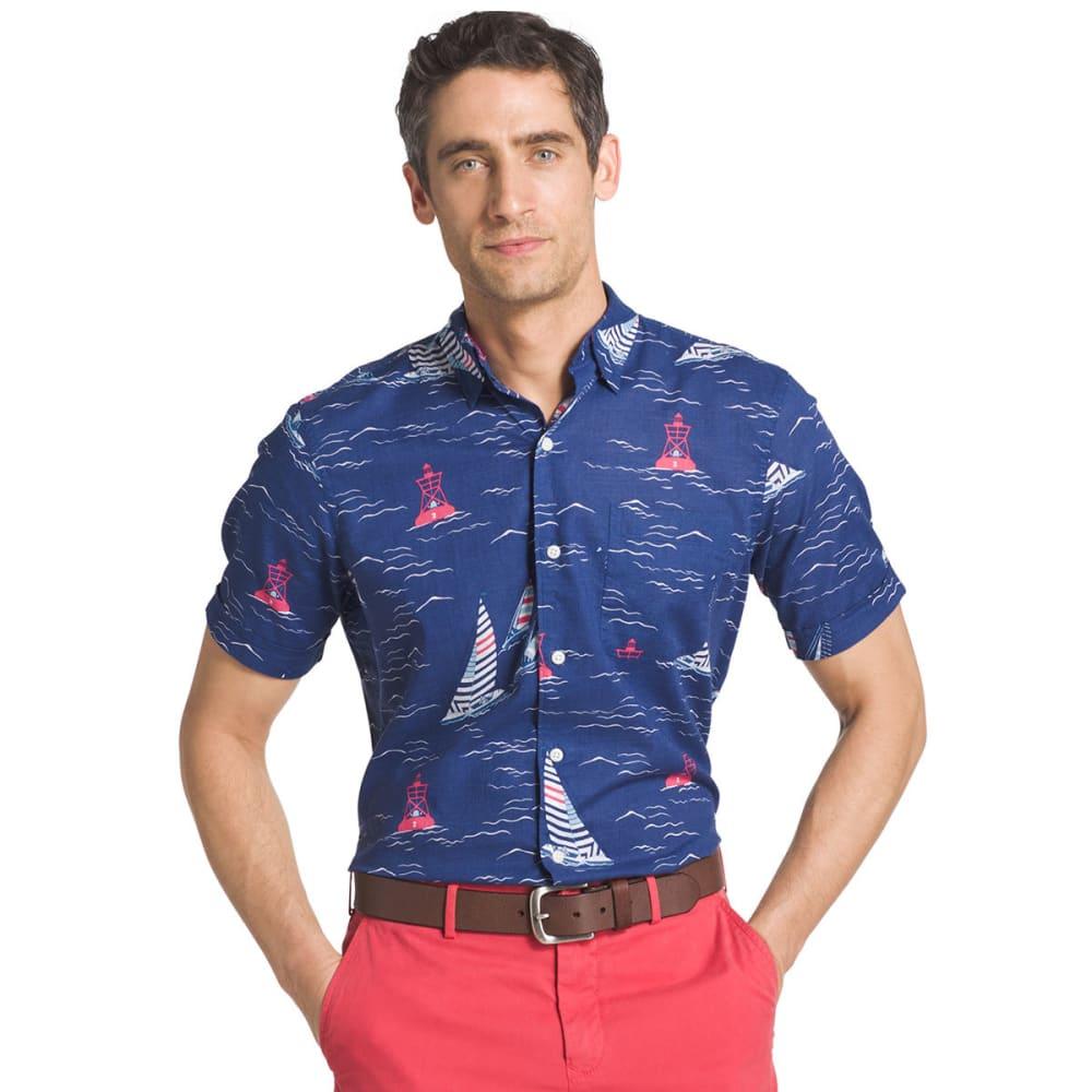 IZOD Men's Saltwater Dockside Chambray Sailboat Print Short-Sleeve Shirt - TWILIGHT BLUE - 409