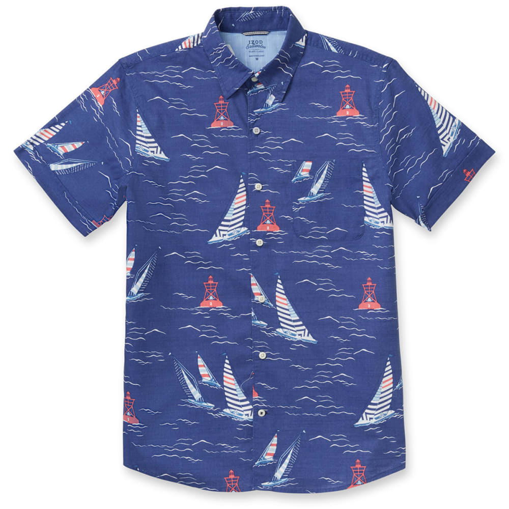 IZOD Men's Saltwater Dockside Chambray Sailboat Print Short-Sleeve Shirt - TWILIGHT BLUE - 409