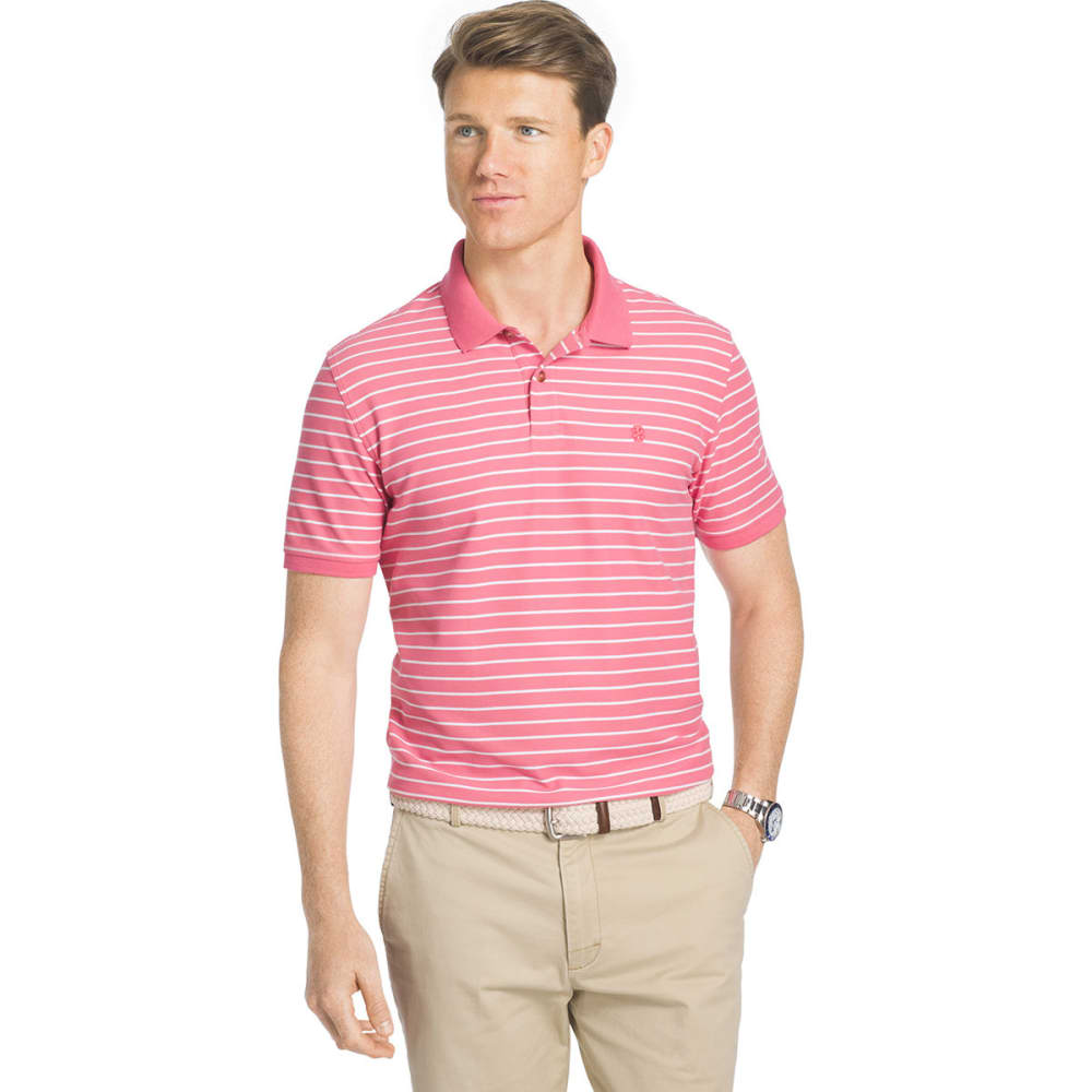 IZOD Men's Advantage Thin Stripe Polo Short-Sleeve Shirt - RAPTURE ROSE - 697