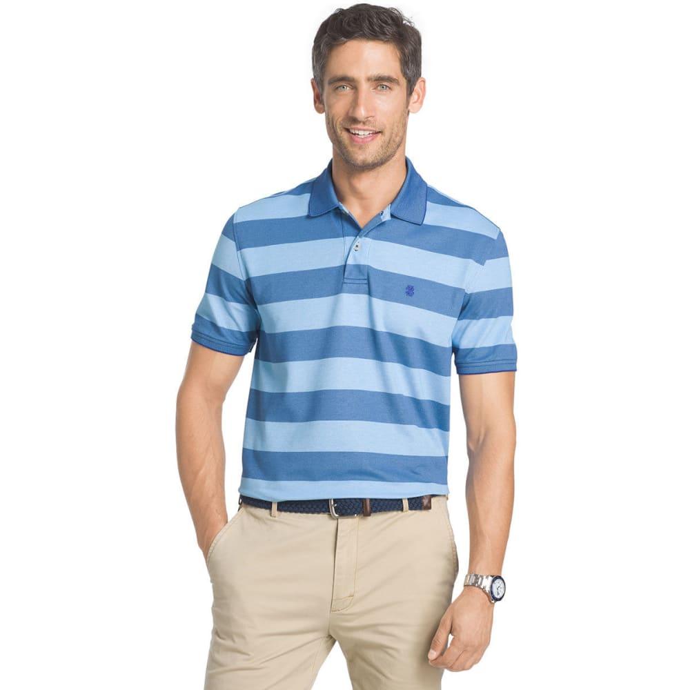 Izod Men's Advantage Classic Rugby Stripe Polo Short-Sleeve Shirt - Blue, M