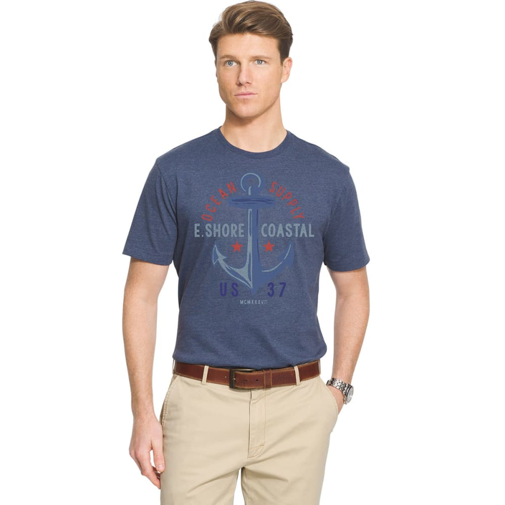 IZOD Men's Short Sleeve Ocean Supply Tee - ANCHOR BLUE - 484