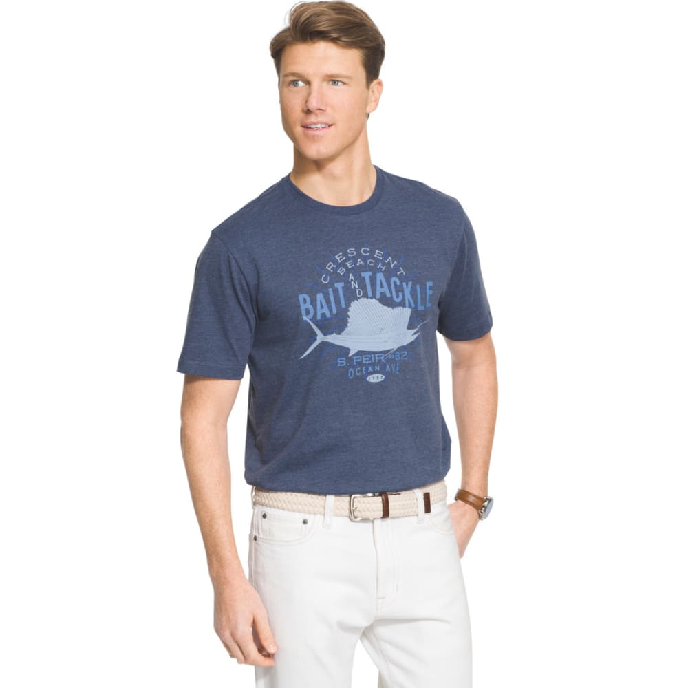 IZOD Men's Crescent Beach Short Sleeve Tee - ANCHOR BLUE - 484