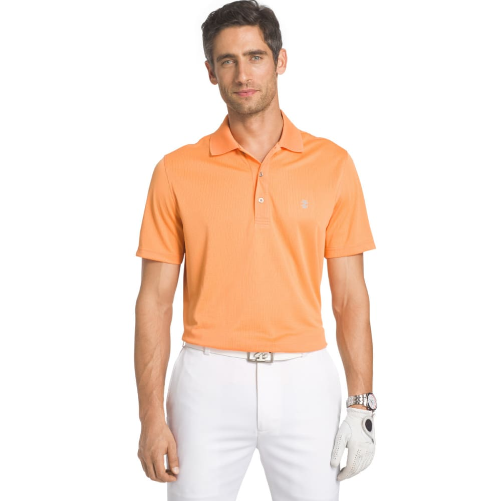 IZOD Men's Solid Grid Performance Golf Polo - BIRD OF PARADISE-849