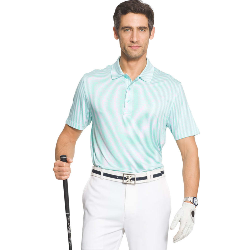 IZOD Men's Golf Performance Stretch Striped Polo Shirt - AQUASPLASH/WHITE-475