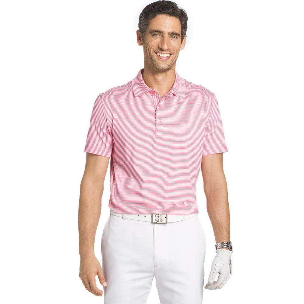 IZOD Men's Golf Performance Stretch Striped Polo Shirt - PINK LEMONADE - 654