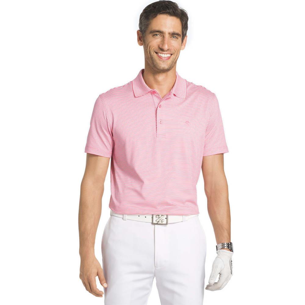 IZOD Men's Golf Performance Stretch Striped Polo Shirt - PINK LEMONADE - 654