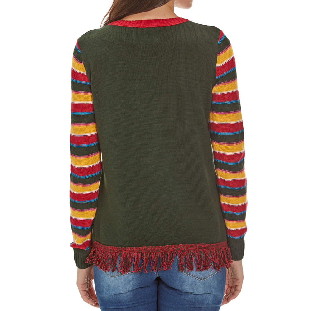 MICHAEL GERALD Juniors' Feliz Navidad Light-Up Sweater - EVERGREEN