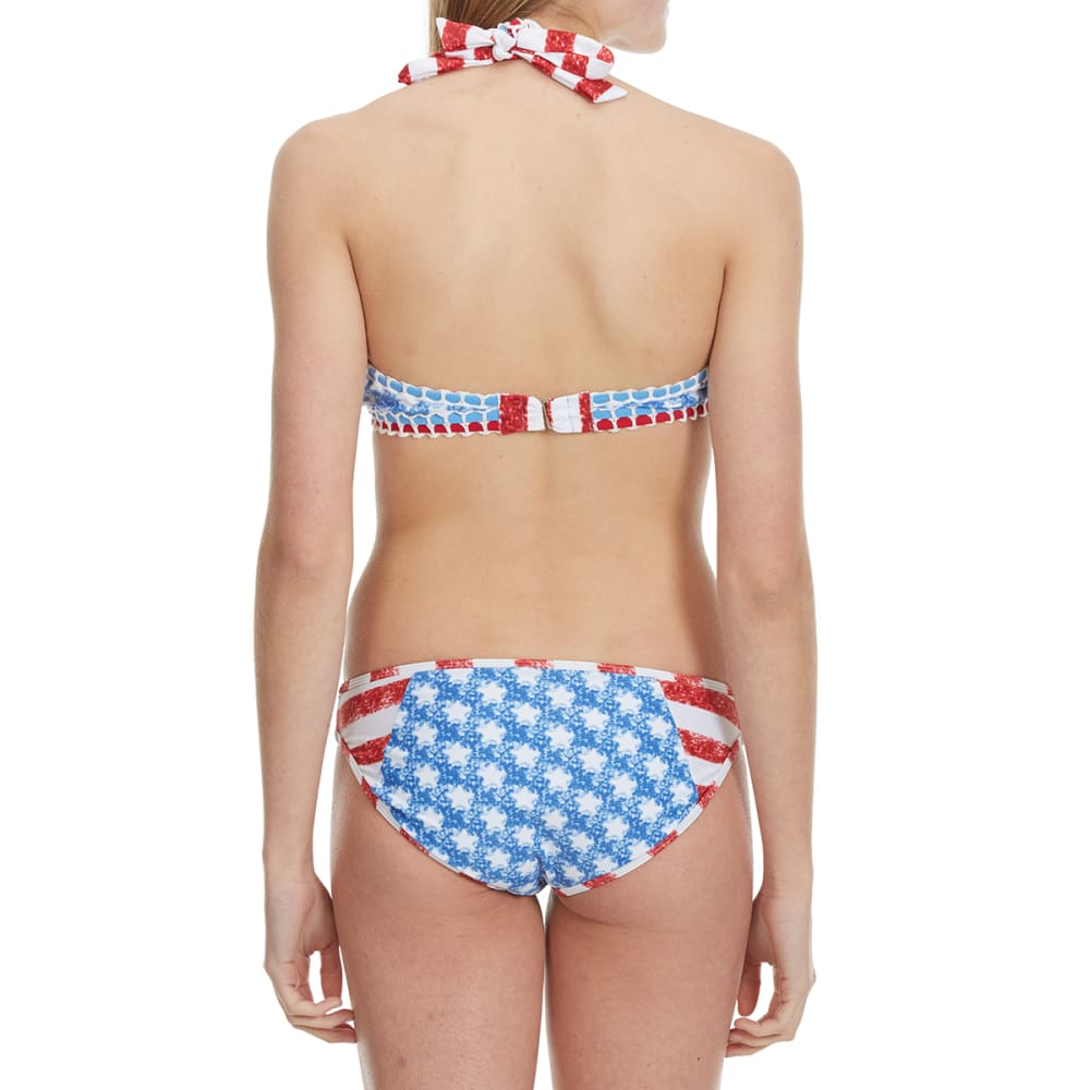 HEAT Juniors'  Stars and Stripes High-Neck Bikini Top - RED/WHT/BLUE