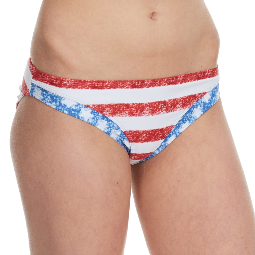 HEAT Juniors'  Stars and Stripes Hipster Bikini Bottoms - RED/WHT/BLUE