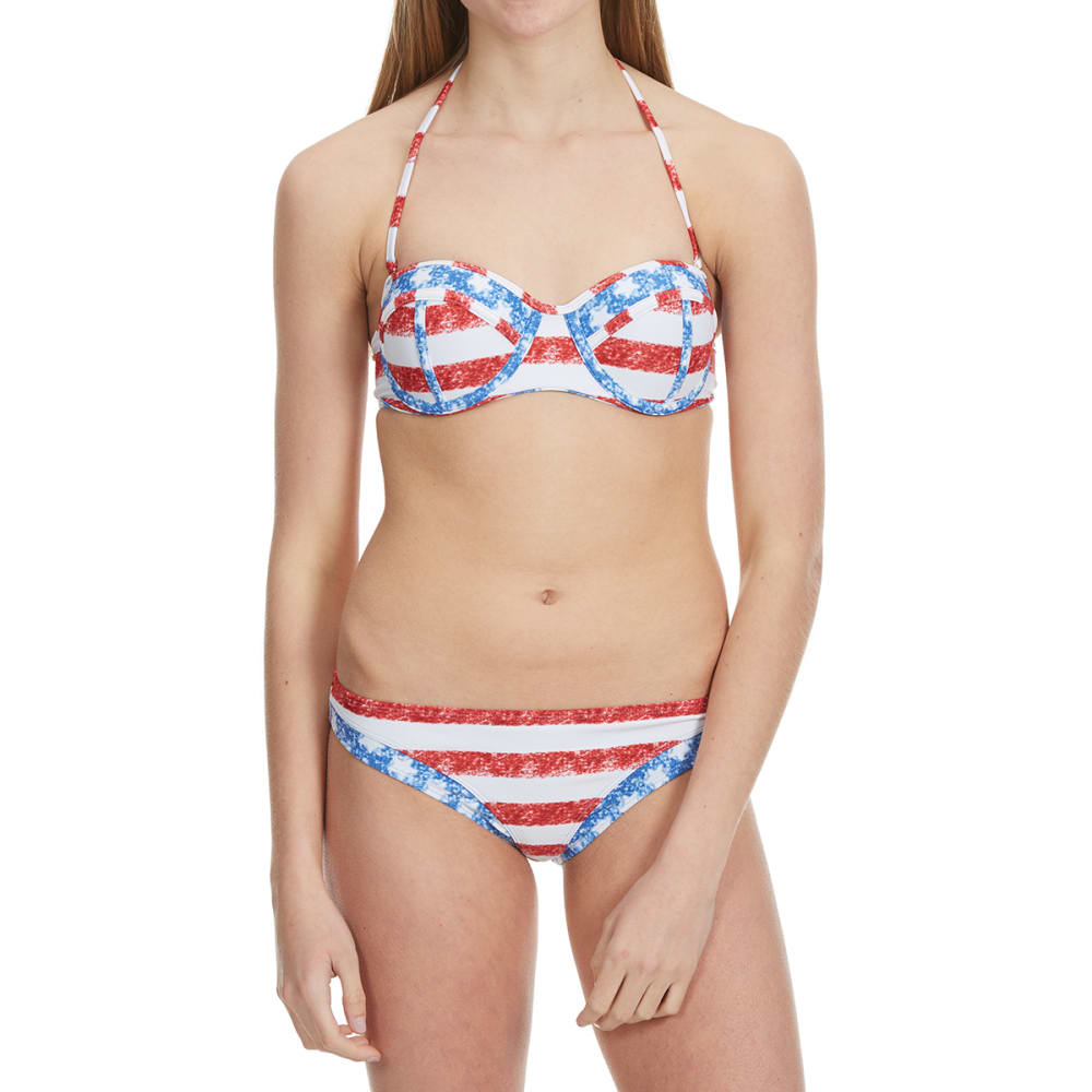 HEAT Juniors'  Stars and Stripes Bandeau Bikini Top - RED/WHT/BLUE