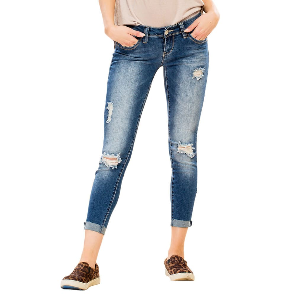 Y.M.I. Juniors' Wanna Betta Butt Frayed Roll Cuff Anklet Jeans, 27 IN. - N418-MED WASH