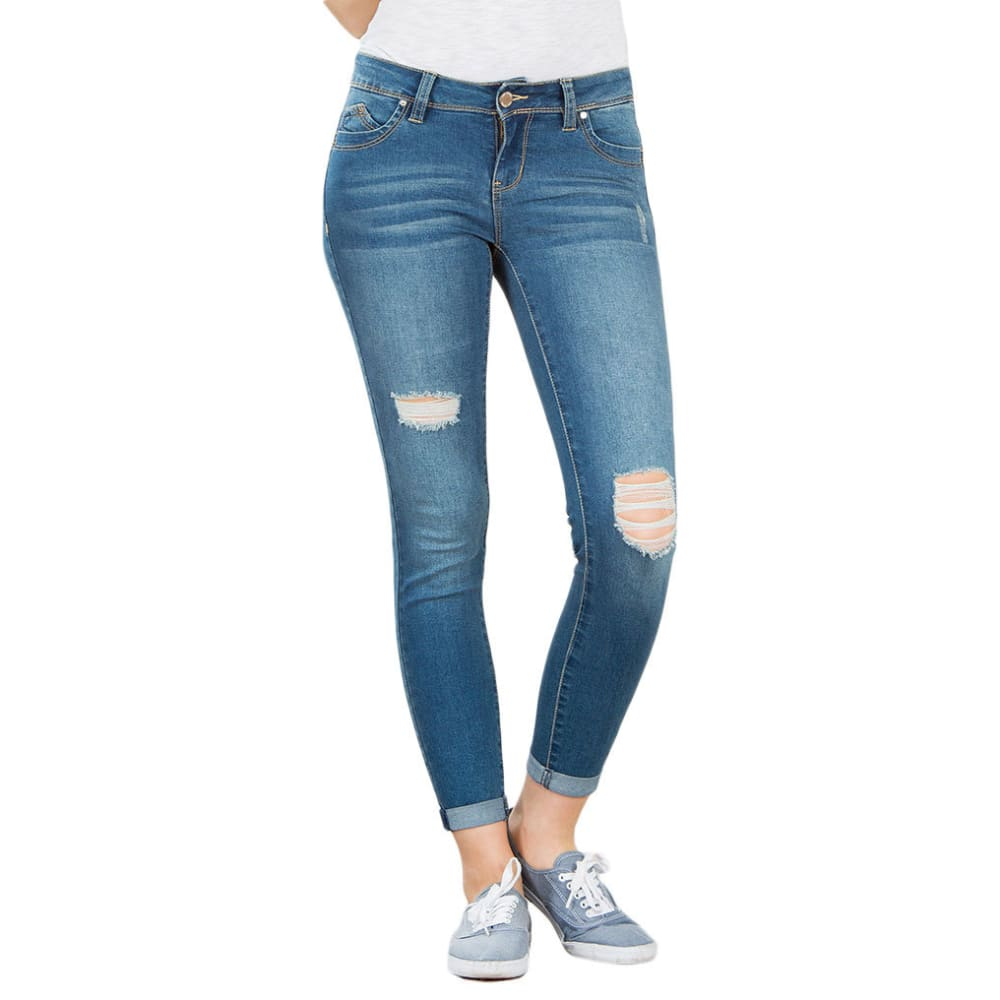 Y.M.I. Juniors' Wanna Betta Butt Roll Cuff Anklet Jeans, 27 IN. - R305-MED WASH