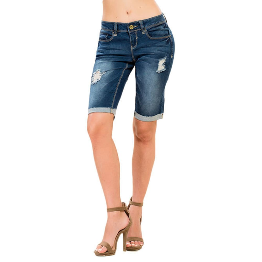 Y.M.I. Juniors' Luxe Cuffed Denim Bermuda Shorts - N404-DRK WASH