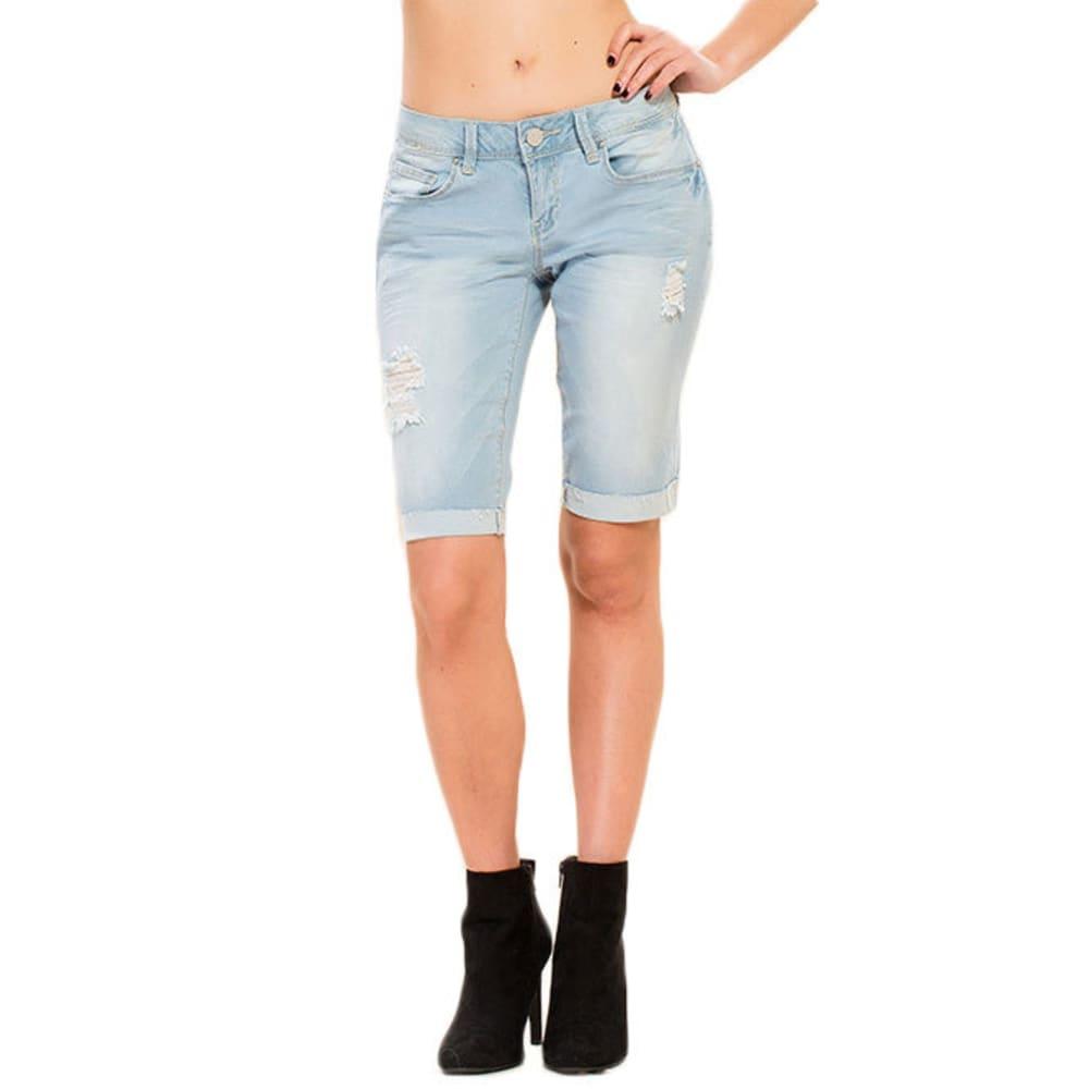 Y.M.I. Juniors' Luxe Cuffed Denim Bermuda Shorts - L404-LT WASH