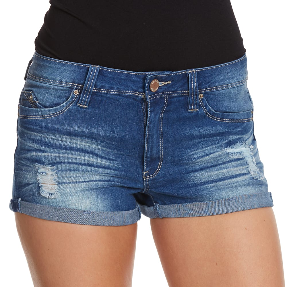 YMI Juniors' WannaBettaButt Destructed Mid-Rise Cuffed Shorts - M397-MED WASH