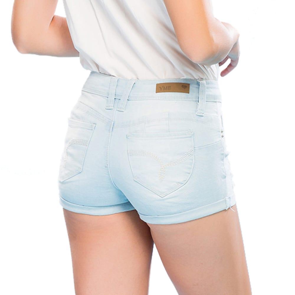 YMI Juniors' WannaBettaButt Destructed Mid-Rise Cuffed Shorts - Q397- LIGHT WASH