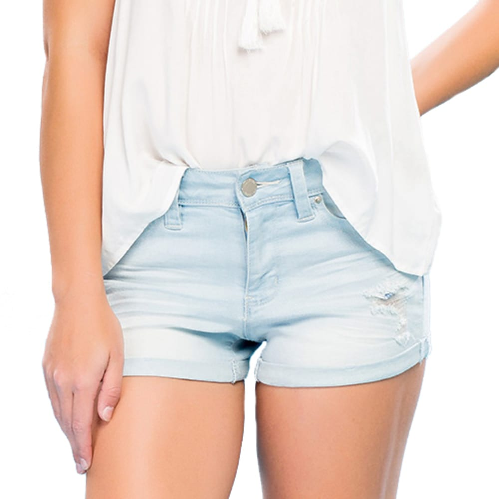 YMI Juniors' WannaBettaButt Destructed Mid-Rise Cuffed Shorts - Q397- LIGHT WASH