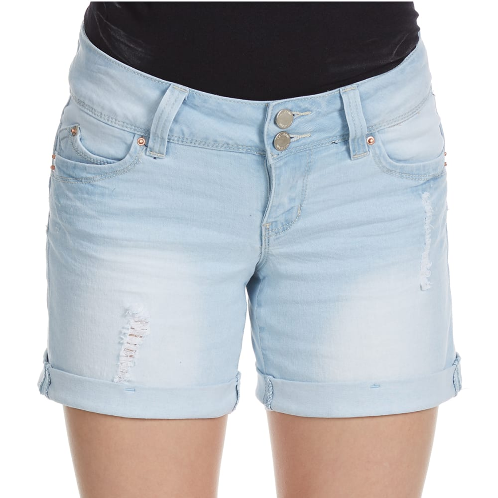 Y.M.I. Juniors' Wanna Betta Butt Roll Cuff Shorts - Q124-LT WASH