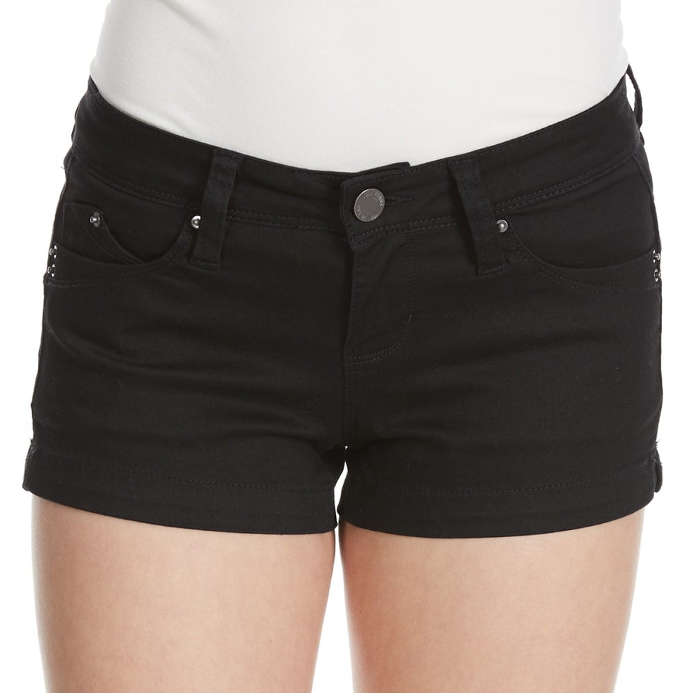 YMI Juniors' Wanna Betta Butt Colored Twill Shorts - BLACK
