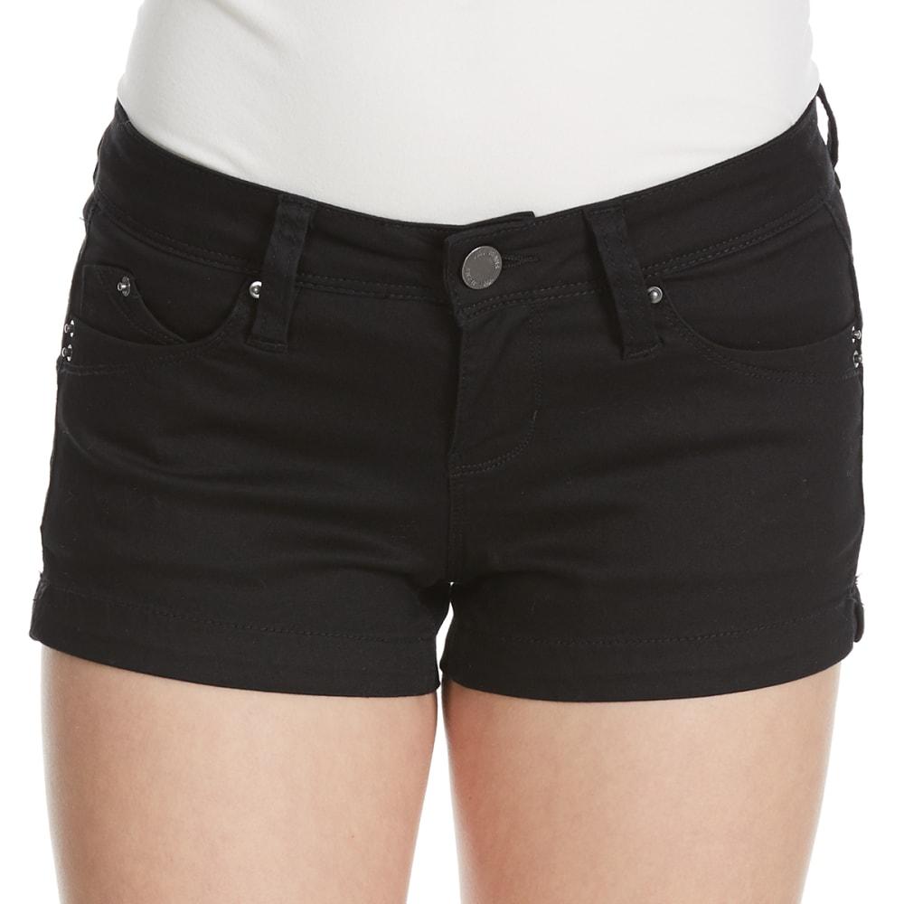 YMI Juniors' Wanna Betta Butt Colored Twill Shorts - BLACK
