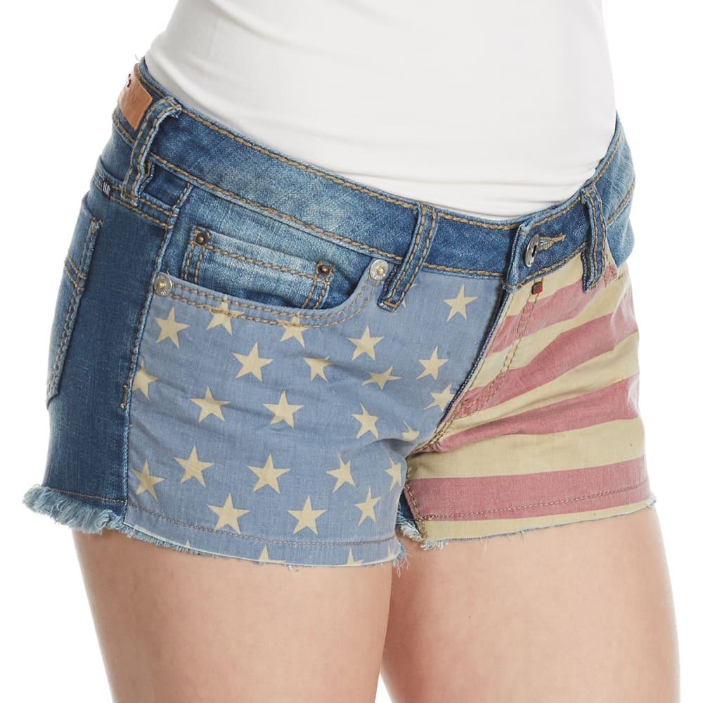 YMI Juniors' Americana Flag Shorts - J08-MED WASH
