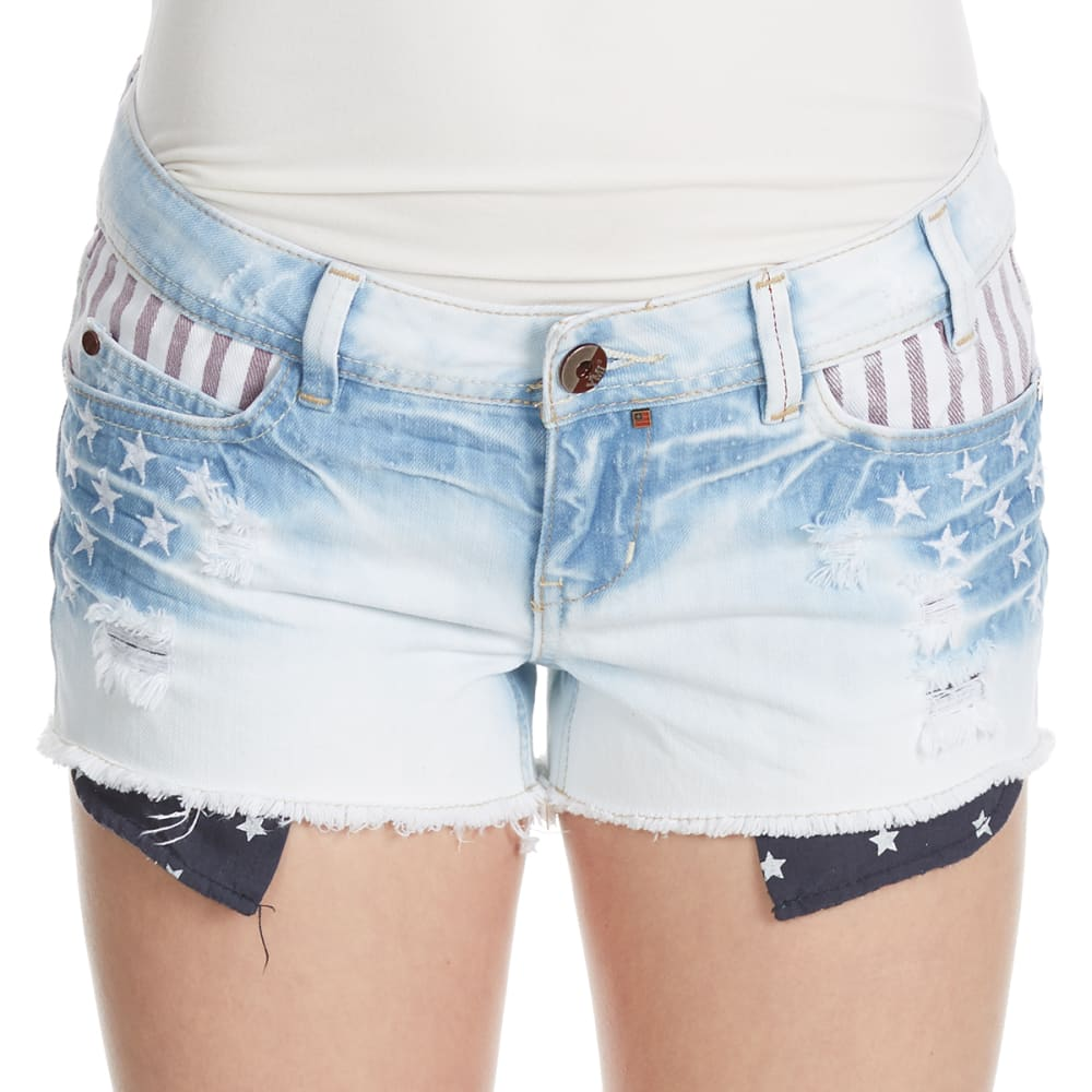 YMI Juniors' Americana Stars and Stripes Shorts - Q57-LT WASH