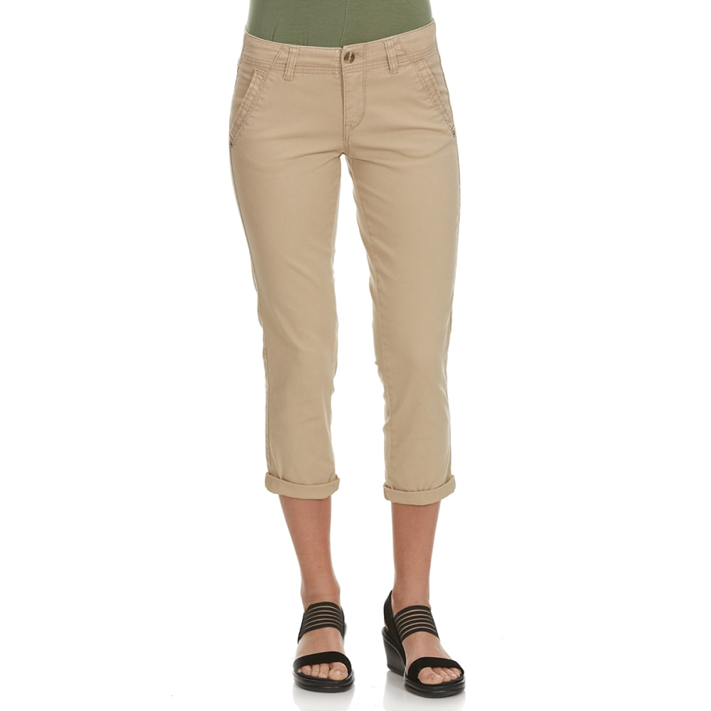 SUPPLIES BY UNIONBAY Women's Vera Cropped Twill Chino Pants - 250J-BEIGE