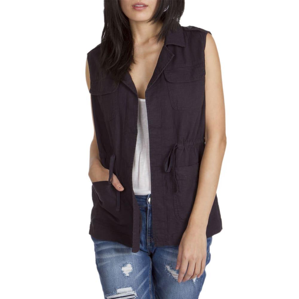 SUPPLIES BY UNIONBAY Women's Kimmy Linen/Rayon Long Vest - 069J-DRK GALAXY GREY