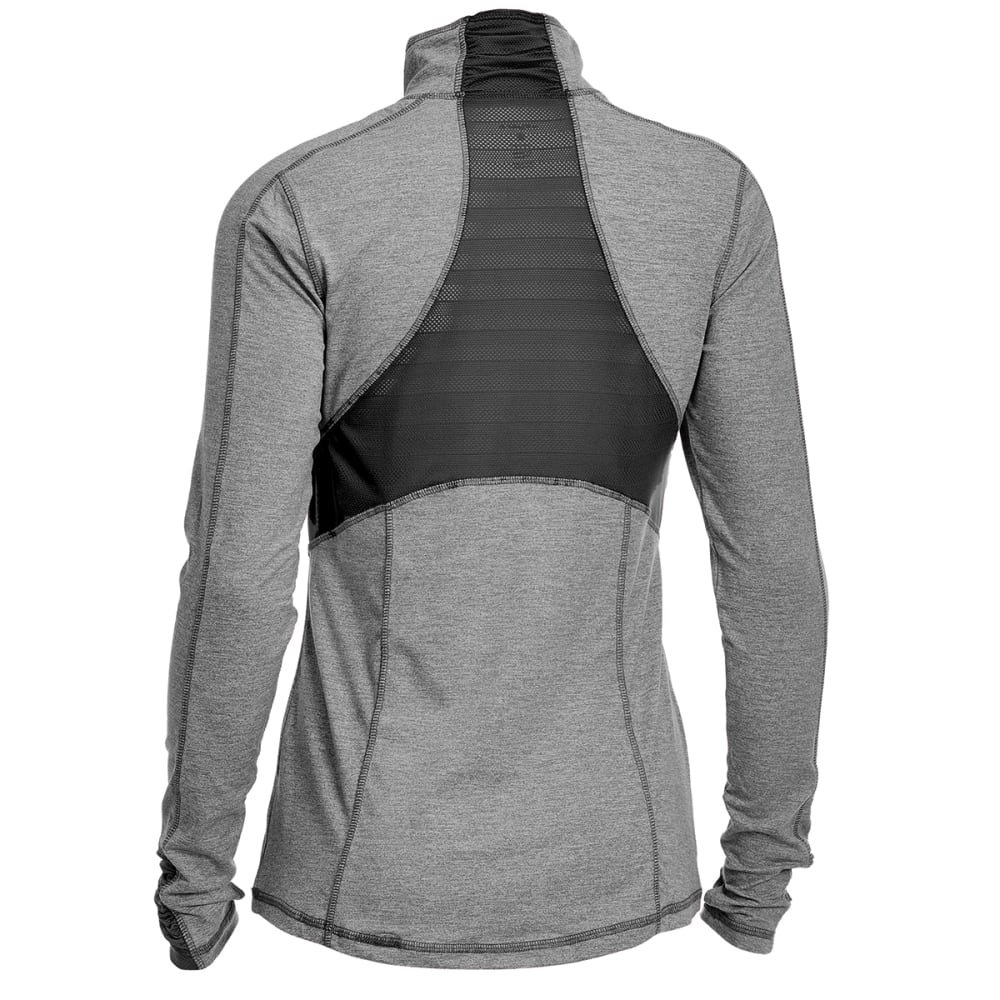 LAYER 8 Women's Striated Cold Gear ¼-Zip Pullover - CHAR HTR/RICH BLK