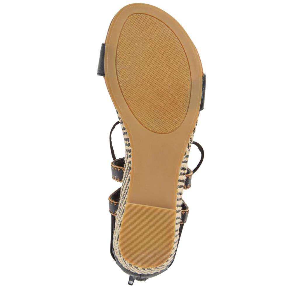 SUGAR Women's Dreamer Ghillie Pom-Pom Demi Wedge Sandals - BLACK