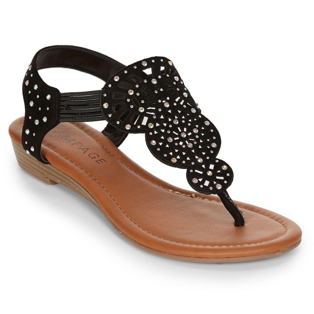 RAMPAGE Women's Candra Rhinestone T-Strap Sandals, Black - BLACK