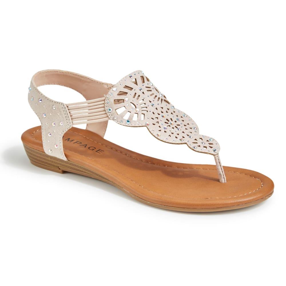 RAMPAGE Women's Candra Rhinestone T-Strap Sandals, Blush - BLUSH