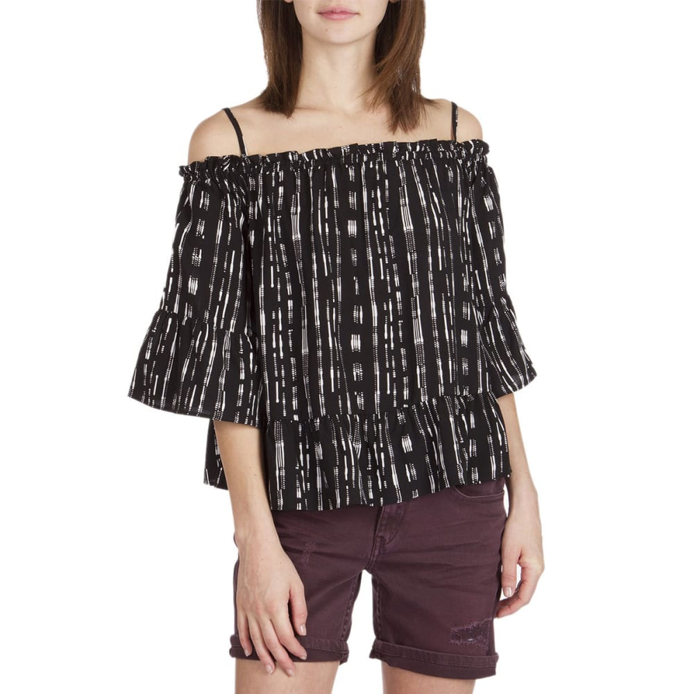 UNION BAY Women's Everly Printed Off The Shoulder Top - 001J-BLACK