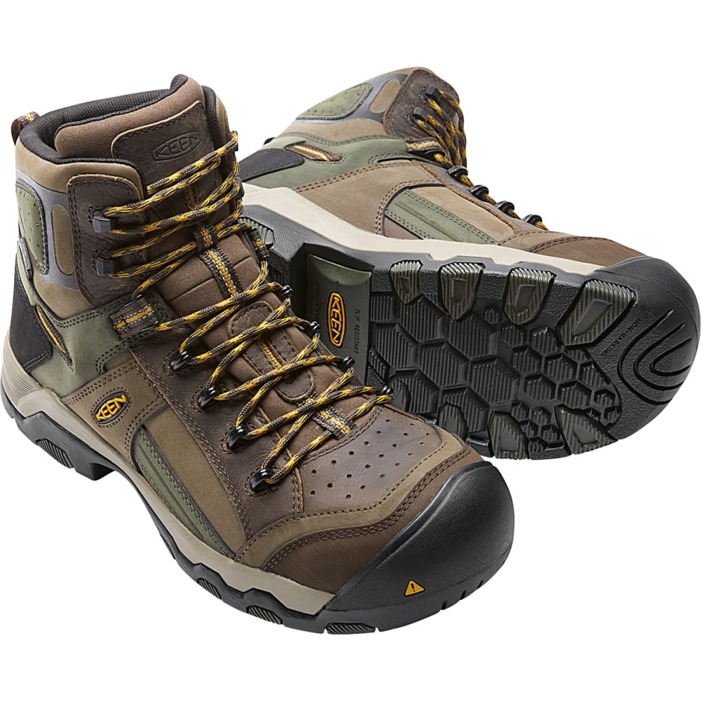 KEEN Men's Davenport Mid Waterproof Composite Toe Work Boots, Shitake/Forest - SHITAKE/FOREST