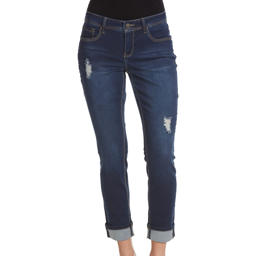 ROYALTY Women's Luxe Cropped Wide Cuff Ankle Jeans - S108-DRK WASH