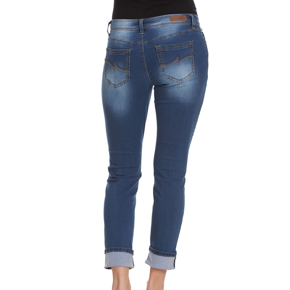 ROYALTY Women's Luxe Cropped Wide Cuff Ankle Jeans - N108-MED WASH