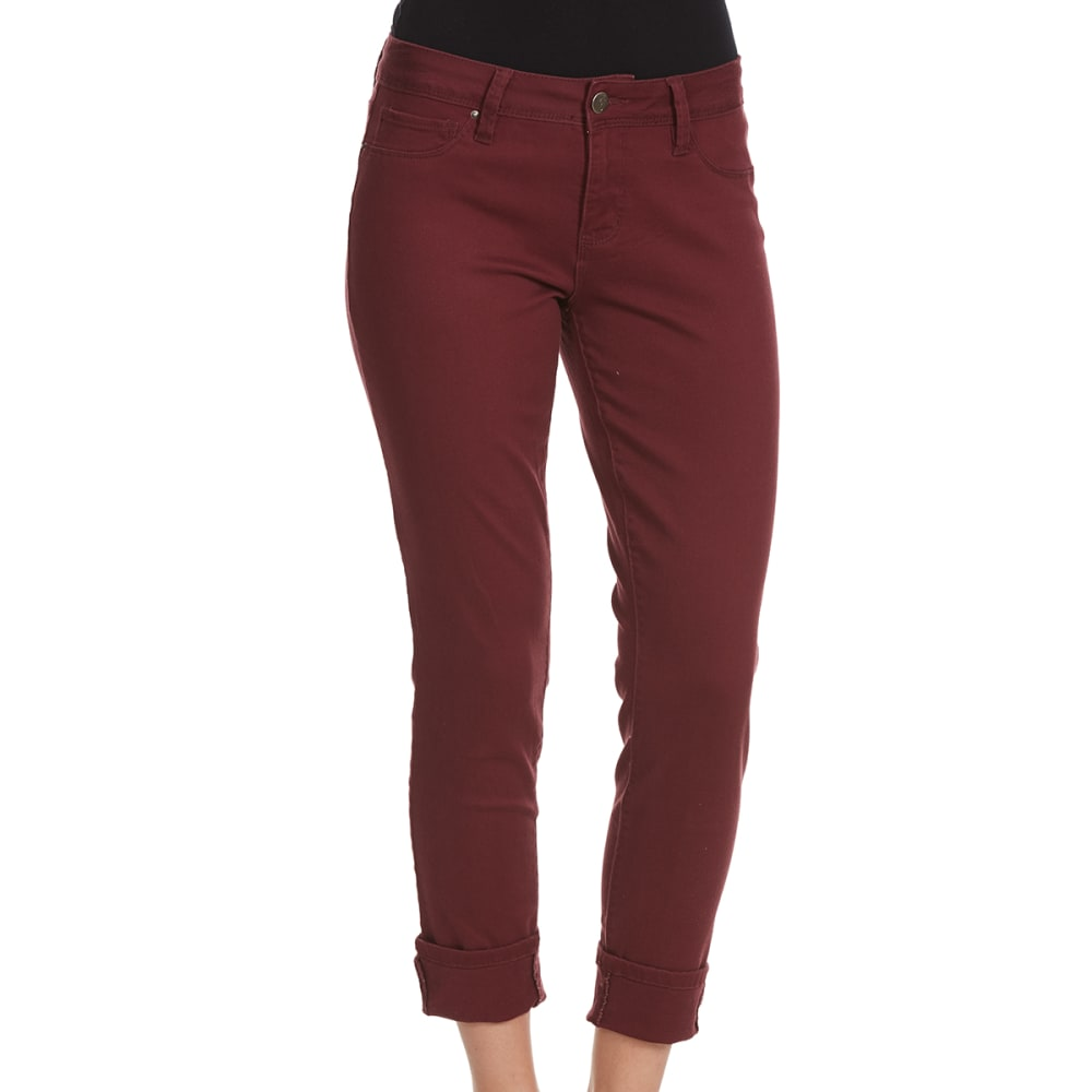 ROYALTY Women's Luxe Colored Twill Ankle Jeans - WINE