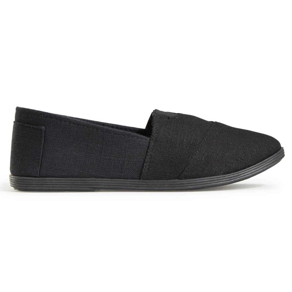 OLIVIA MILLER Women's Linen Canvas Shoes, Black - BLACK