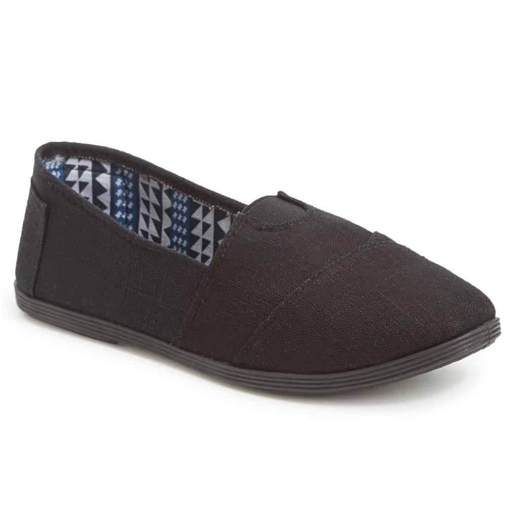 OLIVIA MILLER Women's Linen Canvas Shoes, Black 6