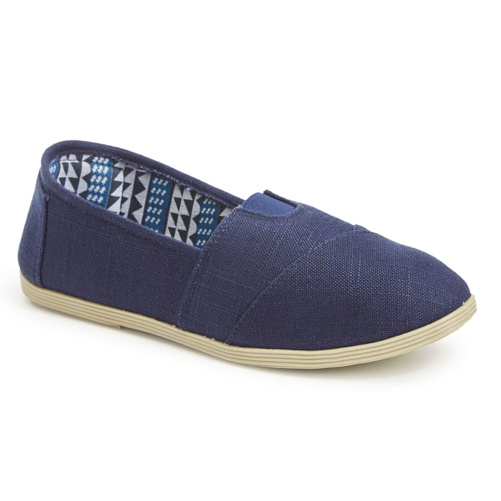 OLIVIA MILLER Women's Linen Canvas Shoes, Navy - NAVY